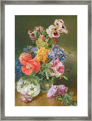 Roses Poppy And Pelargonia Framed Print by James Holland