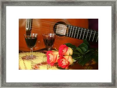 Guitar 'n Roses Framed Print