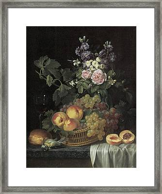 Roses Stocks Jasmine And Other Flowers In A Vase Framed Print by Jean-pierre-xavier Bidauld