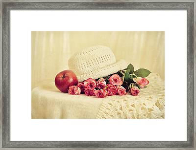 Roses With Apple Framed Print by Gynt Art