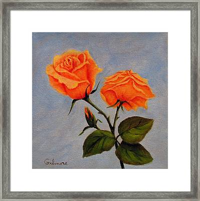 Framed Print featuring the painting Roses With Bud by Roseann Gilmore