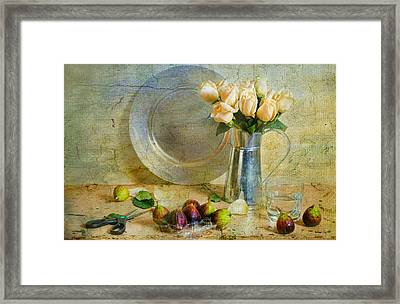 Roses With Figs Framed Print by Diana Angstadt