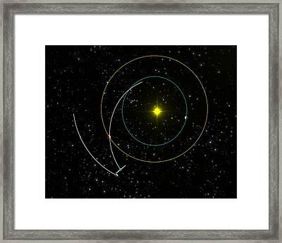 Rosetta Spacecraft Approaching Asteroid Framed Print by European Space Agency/c. Carreau
