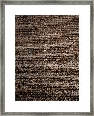 Rosetta Stone Texture Framed Print by Gina Dsgn