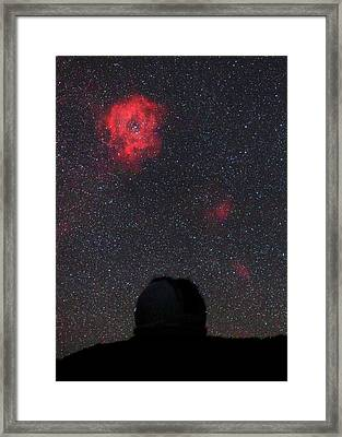 Rosette Nebula And Telescope Framed Print by Babak Tafreshi