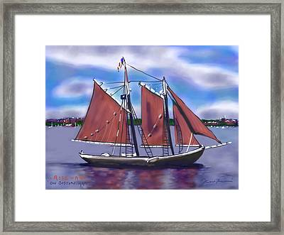 Roseway On Boston Harbor Framed Print by Jean Pacheco Ravinski