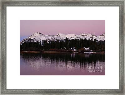 Rosey Lake Reflections Framed Print