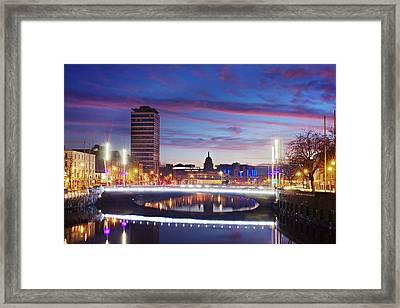 Framed Print featuring the photograph Rosie Hackett Bridge - Dublin by Barry O Carroll