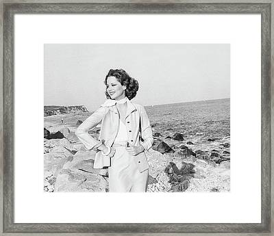 Rosie Vela Wearing A Jacket On A Beach Framed Print