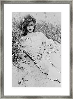 Rosie Vela Wearing A Striped Blouse On Sand Dunes Framed Print
