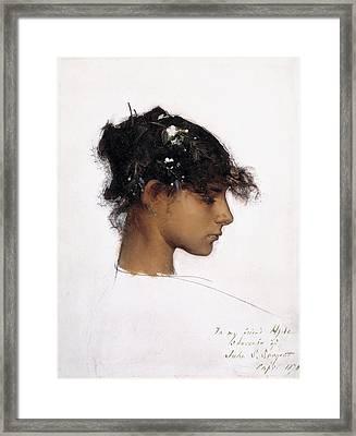 Rosina Ferrara - Head Of A Capri Girl Framed Print by John Singer Sargent