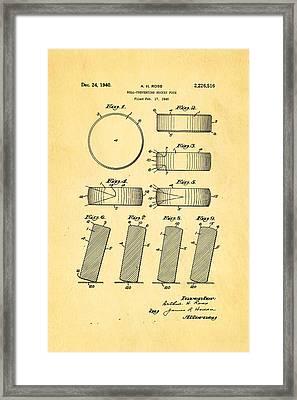 Ross Ice Hockey Puck Patent Art 1940 Framed Print by Ian Monk