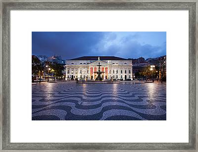Rossio Square At Night In Lisbon Framed Print by Artur Bogacki