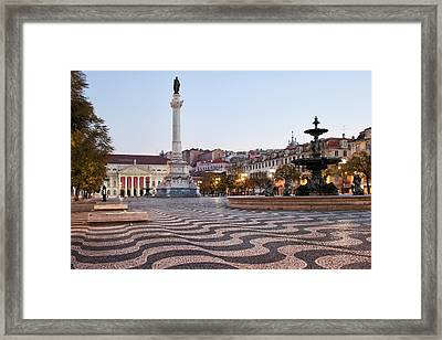 Rossio Square In The Morning Framed Print by Artur Bogacki