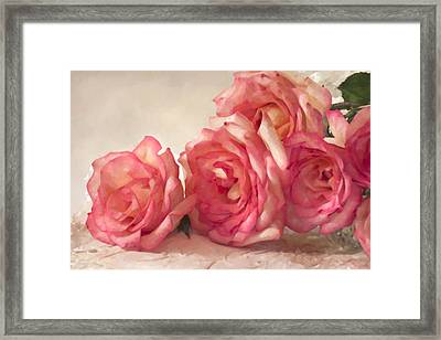 Framed Print featuring the photograph Rosy Elegance Digital Watercolor by Sandra Foster