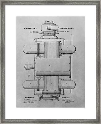 Rotary Pump Patent Drawing Framed Print by Dan Sproul