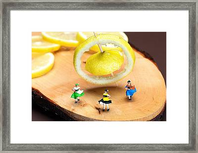 Framed Print featuring the photograph Rotating Dancers And Lemon Gyroscope Food Physics by Paul Ge