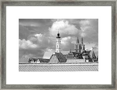 Rothenburg Towers In Black And White Framed Print by Corinne Rhode
