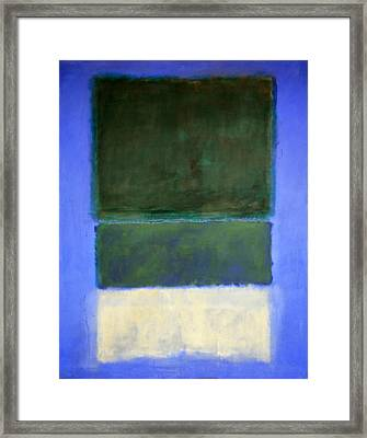 Rothko's No. 14 -- White And Greens In Blue Framed Print
