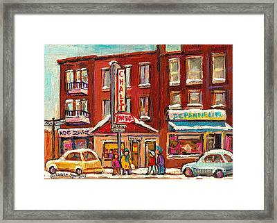 Rotisserie Le Chalet Bar B Q Sherbrooke West Montreal Winter City Scene Framed Print by Carole Spandau