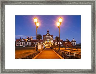Rotorua Bath House Illuminated Twilight New Zealand Framed Print by Colin and Linda McKie