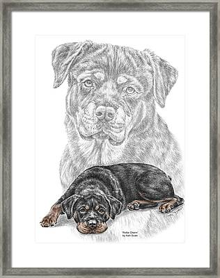 Rottie Charm - Rottweiler Dog Print With Color Framed Print