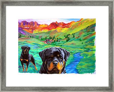 Rottweiler Dogs Landscape Painting Bright Colors Framed Print