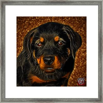 Framed Print featuring the painting Rottweiler Pop Art 0481 - Bc1 - Orange by James Ahn