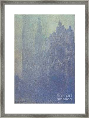 Rouen Cathedral Foggy Weather Framed Print by Claude Monet