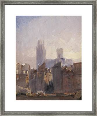 Rouen Cathedral Sunrise Framed Print by Richard Parkes Bonnington