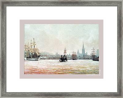 Rouen-tall Ships Framed Print by Caroline Beaumont