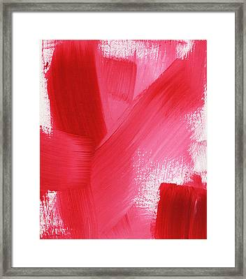 Rouge- Vertical Abstract Painting Framed Print by Linda Woods