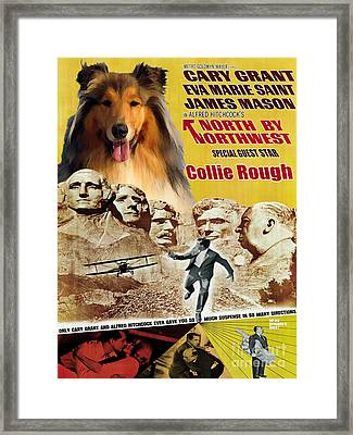 Rough Collie Art Canvas Print - North By Northwest Movie Poster Framed Print by Sandra Sij