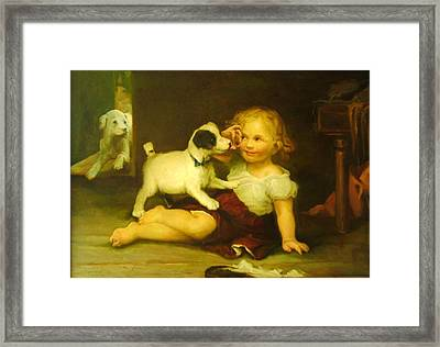 Rough Play With Fox Terriers Framed Print by Michael Chesnakov