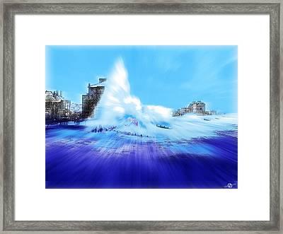 Rough Sea Bognor England Framed Print by Tony Rubino