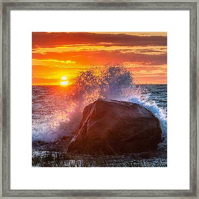 Rough Sea Square Framed Print