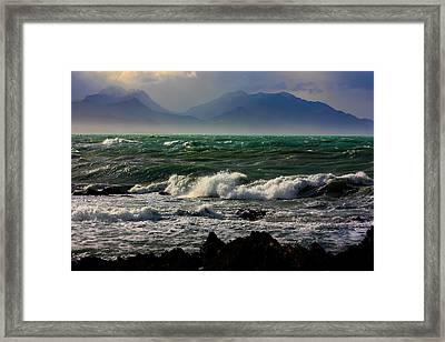 Framed Print featuring the photograph Rough Seas Kaikoura New Zealand by Amanda Stadther