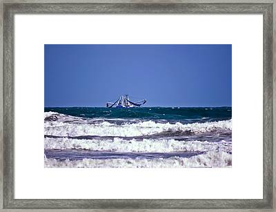 Framed Print featuring the photograph Rough Seas Shrimping by DigiArt Diaries by Vicky B Fuller