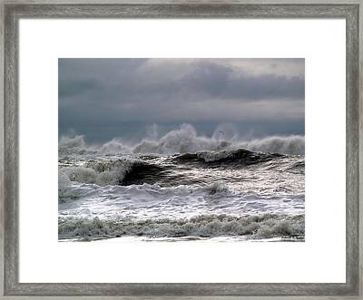 Rough Waves Framed Print by Deborah Hughes