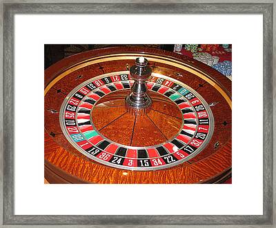 Roulette Wheel And Chips Framed Print