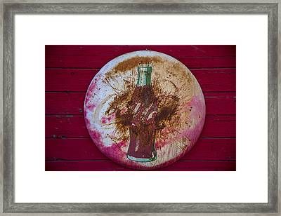 Round Coke Sign Framed Print by Garry Gay
