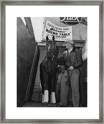 Round Table Vintage Horse Racing #1 Framed Print by Retro Images Archive