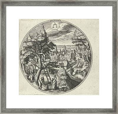 Round Table With An Autumn Landscape And Autumn Scenes Framed Print by Adriaen Collaert