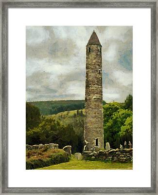 Round Tower At Glendalough Framed Print