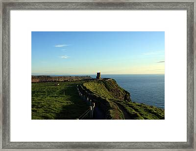 Round Tower On The Cliffs Of Moher Framed Print by Aidan Moran