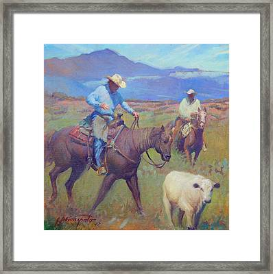 Round Up At Star Ranch Framed Print by Ernest Principato