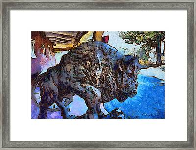 Round Up Market Buffalo Framed Print by Barbara Snyder