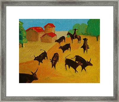 Round Up Of The Bulls 3 Painting By Bertram Poole Framed Print by Thomas Bertram POOLE