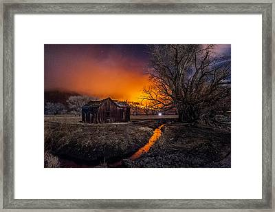 Round Fire Framed Print by Cat Connor