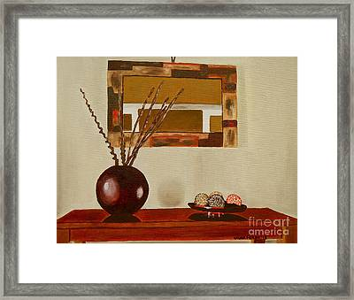 Framed Print featuring the painting Round Vase by Laura Forde